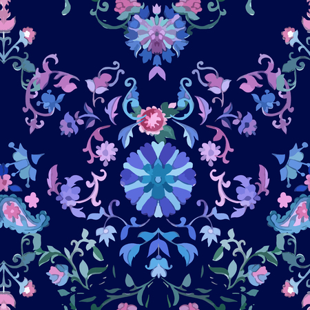 fabric art: Watercolor Paisley Seamless Background. Cold Colors. Indian, Persian or Turkish Art. Vector Handdrawn Pattern. Decorative ornament for fabric, textile, wrapping paper, card, invitation, wallpaper. Illustration