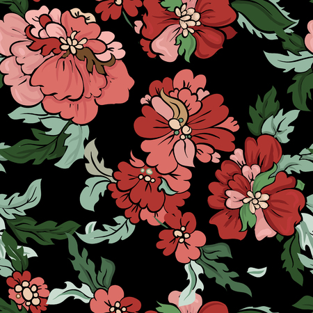 china rose: Beautiful floral seamless pattern . Light composition on black. Vector background. Illustration