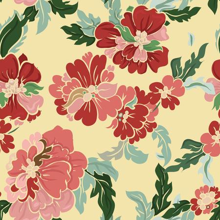 flores chinas: Modelo inconsútil floral hermoso. Composición ligera en blanco. Fondo del vector.