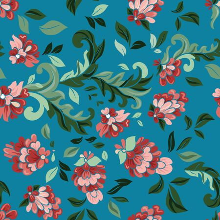 china rose: Beautiful floral seamless pattern . Light composition on blue. Vector background. Illustration