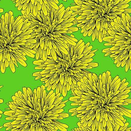 dandelion flower: Bright summer dandelion flower seamless pattern. Vector Illustration