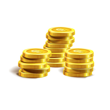 illustration isolated: Vector Illustration of golden coins. Isolated on white. Set of golden coins. Golden coins.