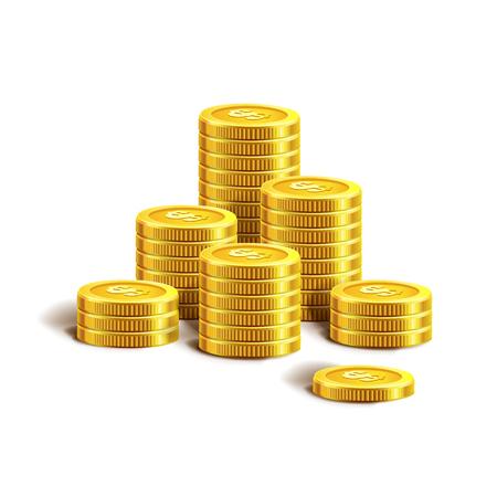 economic interest: Vector Illustration of golden coins. Isolated on white. Set of golden coins. Golden coins.