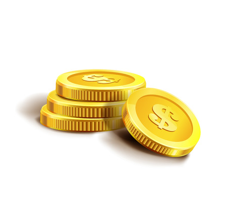 Vector Illustration of golden coins. Isolated on white. Set of golden coins. Golden coins.