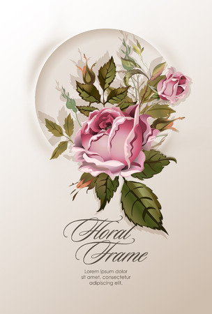 floral vintage: Floral wreath with vintage rose flowers. Rose circular frame. Vector illustration. Vintage gentle template for wedding invitations or greeting cards. Illustration
