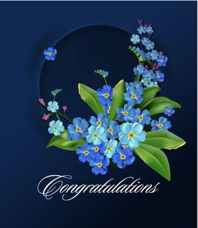 Couronne florale aux fleurs printanières. Oubliez-moi pas de cadre circulaire. Illustration vectorielle. Fleurs bleues sur fond sombre. Fleurs de printemps. Carte de voeux ou modèle d'invitation de mariage.