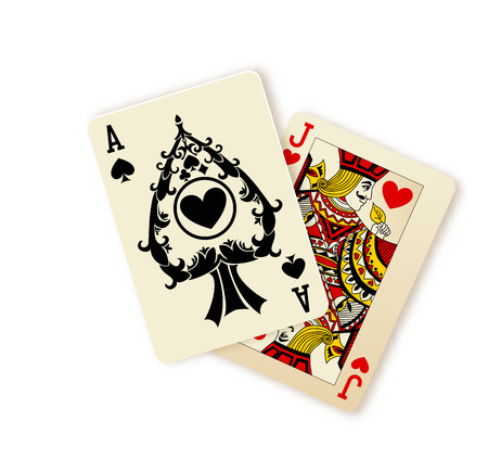 Black Jack playing cards winning combination. Vector Illustration. Isolated on White.