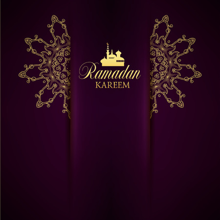 Ramadan Kareem greeting ornate background. Vector Illustration. Eid mubarak. Islamic art design template.