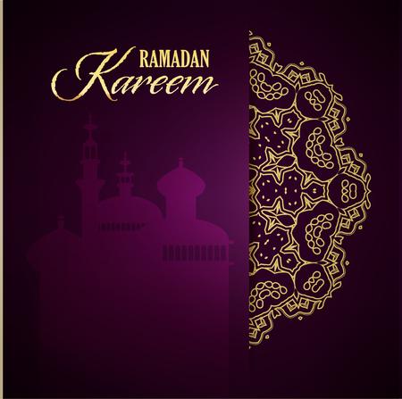 Ramadan Kareem Gruß verzierten Hintergrund. Vektor-Illustration. Eid mubarak. Islamische Kunst-Design-Vorlage.
