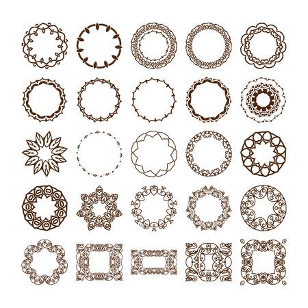 Big set of monogrammes linéaires simples. Vector illustration. Isolé sur blanc. collection Vecteur de cadres décoratifs ou des frontières. Vecteurs