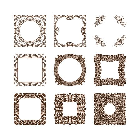 golden frame: Set of simple linear monograms. Vector illustration. Isolated on white. Vector collection of decorative frames or borders.