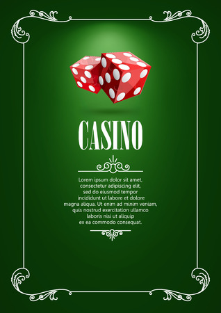 gambling game: Casino  Poster Background or Flyer with Flying Dice. Banner with Casino Badges. Game Cards on Green Canvas. Playing Casino Games. Casino Banner. Casino Games Gambling Template background.