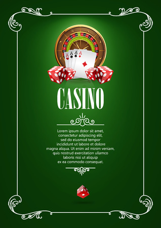 Casino  Poster Background or Flyer with Roulette Wheel, Playing Cards and Dice. Banner with Casino  Badges. Playing Casino Games. Casino Banner. Casino Games Gambling Template background.