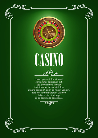gambling game: Casino Poster Background or Flyer with Roulette Wheel. Banner with Casino Badges. Game Cards on Green Canvas. Playing Casino Games. Casino Banner. Casino Games Gambling Template background. Illustration