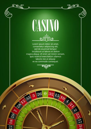 gambling game: Casino Poster Background or Flyer with Roulette Wheel. Banner with Casino Badges on Green Canvas. Game Cards. Playing Casino Games. Casino Banner. Casino Games Gambling Template background.