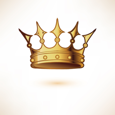 jeweled: Golden Royal Crown. Isolated on white. Vector Illustration.