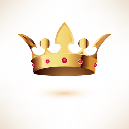 luxuriance: Golden Royal Crown. Isolated on white. Vector Illustration.