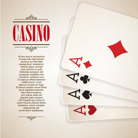 double game: Casino poster background or flyer. Casino invitation or banner template With Playing Cards . Poker Game design. Playing casino games. Four Aces. Vector illustration. Illustration