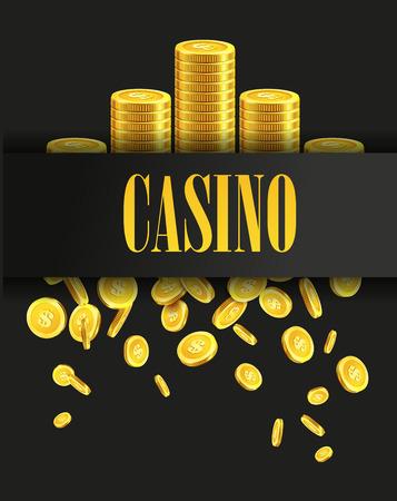 カジノ ポスター背景や黄金金コインとチラシ。ベクトル テンプレート。カジノのバナーです。カジノ ゲーム ギャンブル テンプレート背景。