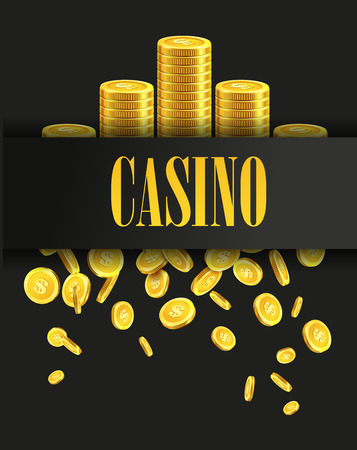 casinos: Casino Poster Background or Flyer with Golden Money Coins. Vector Template. Casino Banner. Casino Games Gambling Template background.