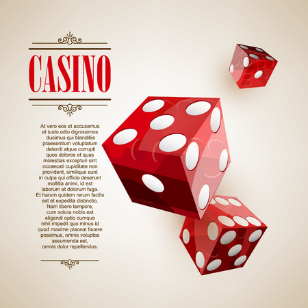 Casino poster background or flyer. Casino invitation or banner template with flying Dice . Game design. Playing casino games. Vector illustration.