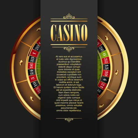 casinos: Casino poster background or flyer. Casino invitation or banner template with Roulette Wheel. Game design. Playing casino games. Vector illustration.
