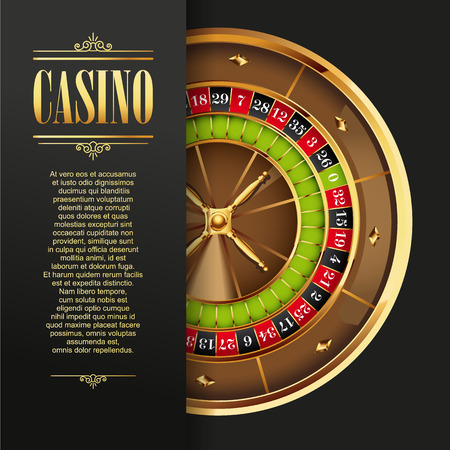 Casino poster background or flyer. Casino invitation or banner template with Roulette Wheel. Game design. Playing casino games. Vector illustration.