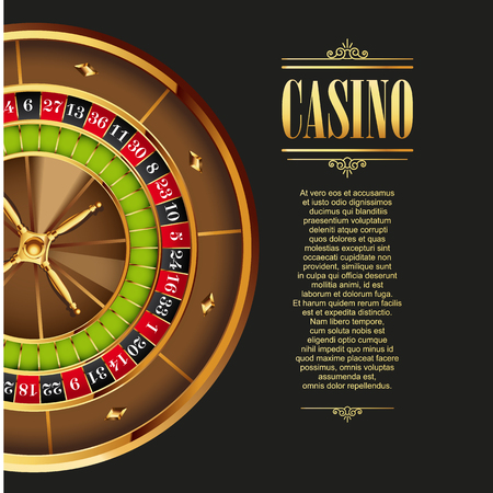 online roulette: Casino poster background or flyer. Casino invitation or banner template with Roulette Wheel. Game design. Playing casino games. Vector illustration.