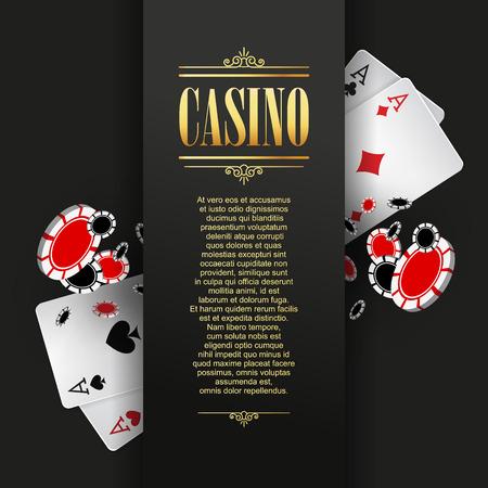 cartel casino o bandera o plantilla de volante. invitación del casino con juegos de cartas y fichas de póquer. Diseño de juego. Jugar juegos de casino. Ilustración del vector.