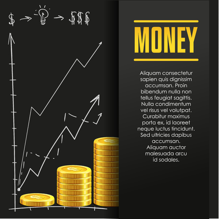 economize: Money poster or banner design template with golden coins and copy space for text. Vector illustration. Money making. Bank deposit. Financials. Gold and black colors. Business finans vector background. Illustration
