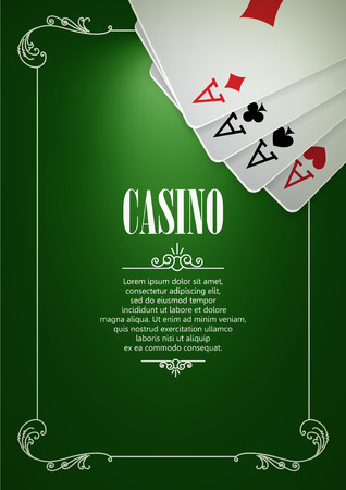 gambling game: Casino Logo Poster Background or Flyer with Playing Cards. Banner with Casino Logo Badges on Green Canvas. Game Cards. Playing Casino Games. Casino Banner. Casino Games Gambling Template background. Illustration