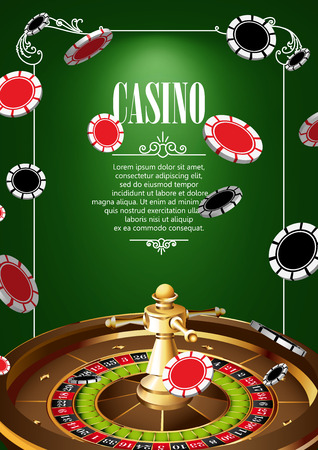 gambling game: Casino Logo Poster Background or Flyer with Roulette Wheel and Chips. Banner with Casino Logo Badges on Green Canvas. Game Cards. Playing Casino Games. Casino Banner. Casino Games Gambling Template background. Illustration