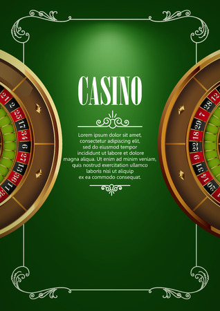 gambling game: Casino Logo Poster Background or Flyer with Roulette Wheel . Banner with Casino Logo Badges. Game Cards on Green Canvas. Playing Casino Games. Casino Banner. Casino Games Gambling Template background. Illustration