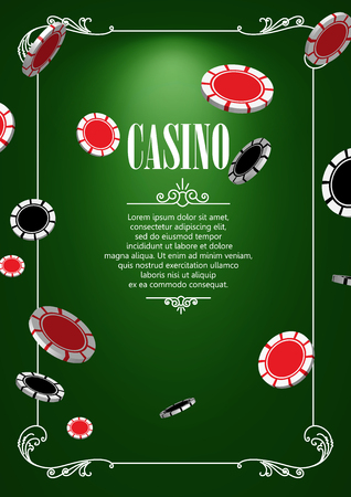 gambling game: Casino Logo Poster Background or Flyer with Casino or Poker Chips. Banner with Casino Logo Badges. Game Cards on Green Canvas. Playing Casino Games. Casino Banner. Casino Games Gambling Template background. Illustration