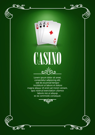game cards: Casino Logo Poster Background or Flyer with Playing Cards. Banner with Casino Logo Badges. Game Cards on Green Canvas. Playing Casino Games. Casino Banner. Casino Games Gambling Template background. Illustration