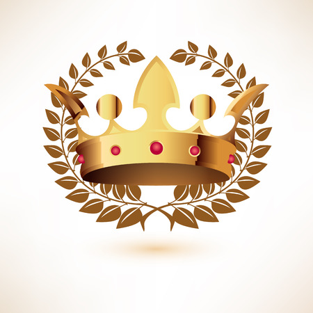 jeweled: Golden Royal Crownwith Laurel Wreath isolated on white. Illustration