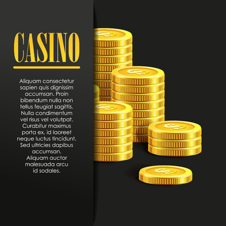 royal background: Casino Poster Background or Flyer with Golden Money Coins. Vector Template. Casino Banner. Casino Games Gambling Template background.