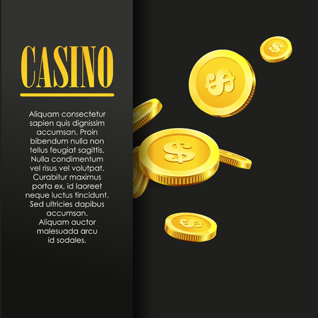 roulette layout: Casino Poster Background or Flyer with flying Golden Money Coins. Vector Template. Casino Banner. Casino Games Gambling Template background.