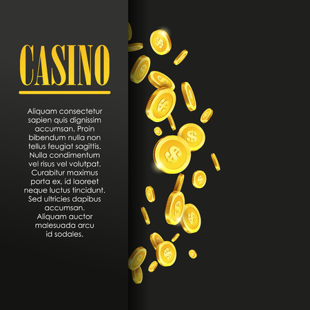 Casino Poster Background or Flyer with Golden Money Coins. Vector Template. Casino Banner. Casino Games Gambling Template background. Vector Illustration