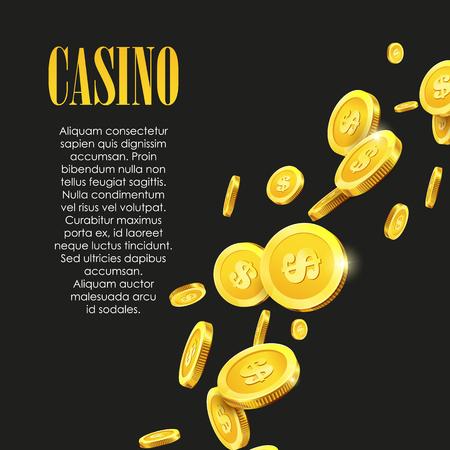 Casinò Poster Background o Flyer con soldi monete d'oro. Modello di vettore. Banner Casino. Giochi di Casinò sfondo Gambling Template. Archivio Fotografico - 57563086
