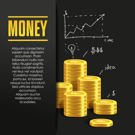 bank deposit: Money poster or banner design template with golden coins and copy space for text. Vector illustration. Money making. Bank deposit. Financials. Gold and black colors. Business finans vector background. Illustration