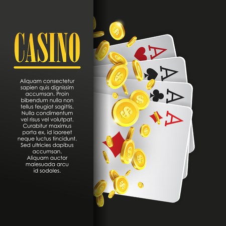 party night: Casino poster or banner background or flyer template. Poker invitation with Playing Cards and Flying Golden coins. Game design. Playing casino games. Vector illustration. Four Aces Combination.