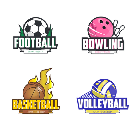 club soccer: Sport  set for four sport disciplines: football, bowling, basketball, volleyball. Vector illustration. Isolated on white. Illustration