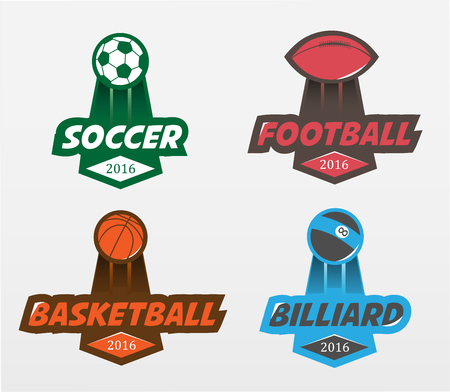 Sport badges. Set of Soccer Football basketball billiards Badge Design Templates. Sport Team Identity Vector Illustrations isolated on white Background.