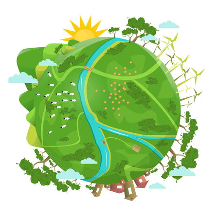 Eco friendly. Ecology design. Green Planet Earth concept of eco with green gras, trees, buildings. Vector illustration.