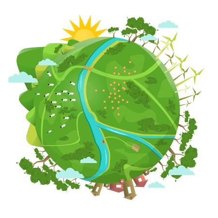 Respectueux de l'environnement. Conception écologique. Green Planet Earth concept d'éco avec du gras vert, des arbres, des bâtiments. Illustration vectorielle. Banque d'images - 58662405