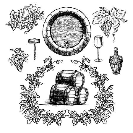 vines: Wine and wine making vintage set. Wine template design. Vector illustration. Sketch style design. Red wine, white wine. Handdrawn grapes.