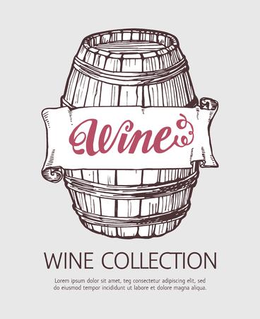 root beer: Wine or beer wood barrel. Handdrawn vector sketch template with banner. Illustration
