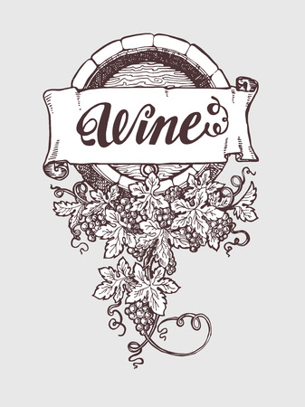 wood creeper: Wine and winemaking vintage vector barrel with grapes decoration. Vector illustration. Handdrawn sketch style. Illustration