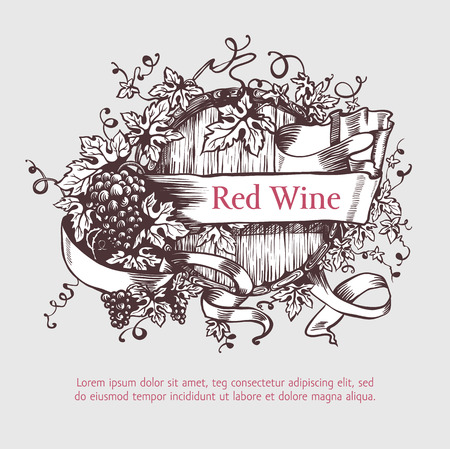 vineyard sunset: Wine and wine making. Wine barrel with grapes wreath and banner. Wine template design. Vector illustration. Sketch style design. Red wine, white wine. Handdrawn grapes. Illustration